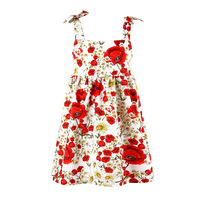 Rose Girls Sundress Suspender Summer Girl\'s Dress Children Clothes Backless Brace Kid Dresses