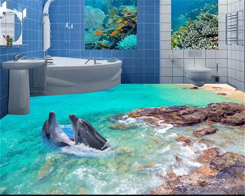Beibehang custom 3D floor paper dolphin sea floor photo toilet toilet 3d floor wallpaper papel de parede 3d para sala atacado beibehang custom photo floor wallpaper