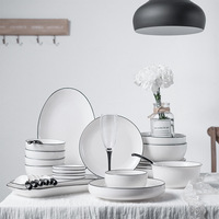 10pce/set Ins Style High end Bone China Dinnerware Sets Household Dinner Plate Rice Bowl Soup Spoon Cutlery Set for 2 People