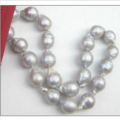 Selling jewerly > 18 clasp new 15-23mm tahitian silver gray baroque pearl necklace>free shipping
