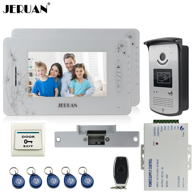 JERUAN two 7`` monitor TFT color video door phone intercom system 700TVL new RFID Access IR Night Vision Camera+Cathode lock jeruan three 7 monitor color video door phone intercom 700tvl rfid access ir night vision camera electric mortise lock 8gb card