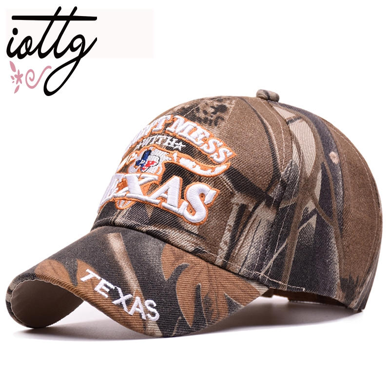 IOTTG 2018 Outdoor Sun   Baseball     Cap   Texas Letters Embroidered Hats Camouflage Snapback   Cap   For Men Women Couple Sport Hats
