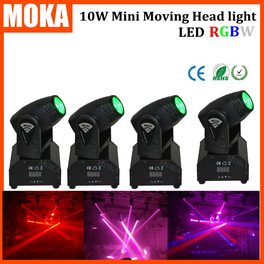 4Pcs/lot DJ Light RGBW LED 10W Mini Moving Head light LED Lights For Party ,Ktv,disco 4pcs lot 10w led moving head light rgbw mini moving beams for dj party nightclub lives disco stage lighting ktv wedding party