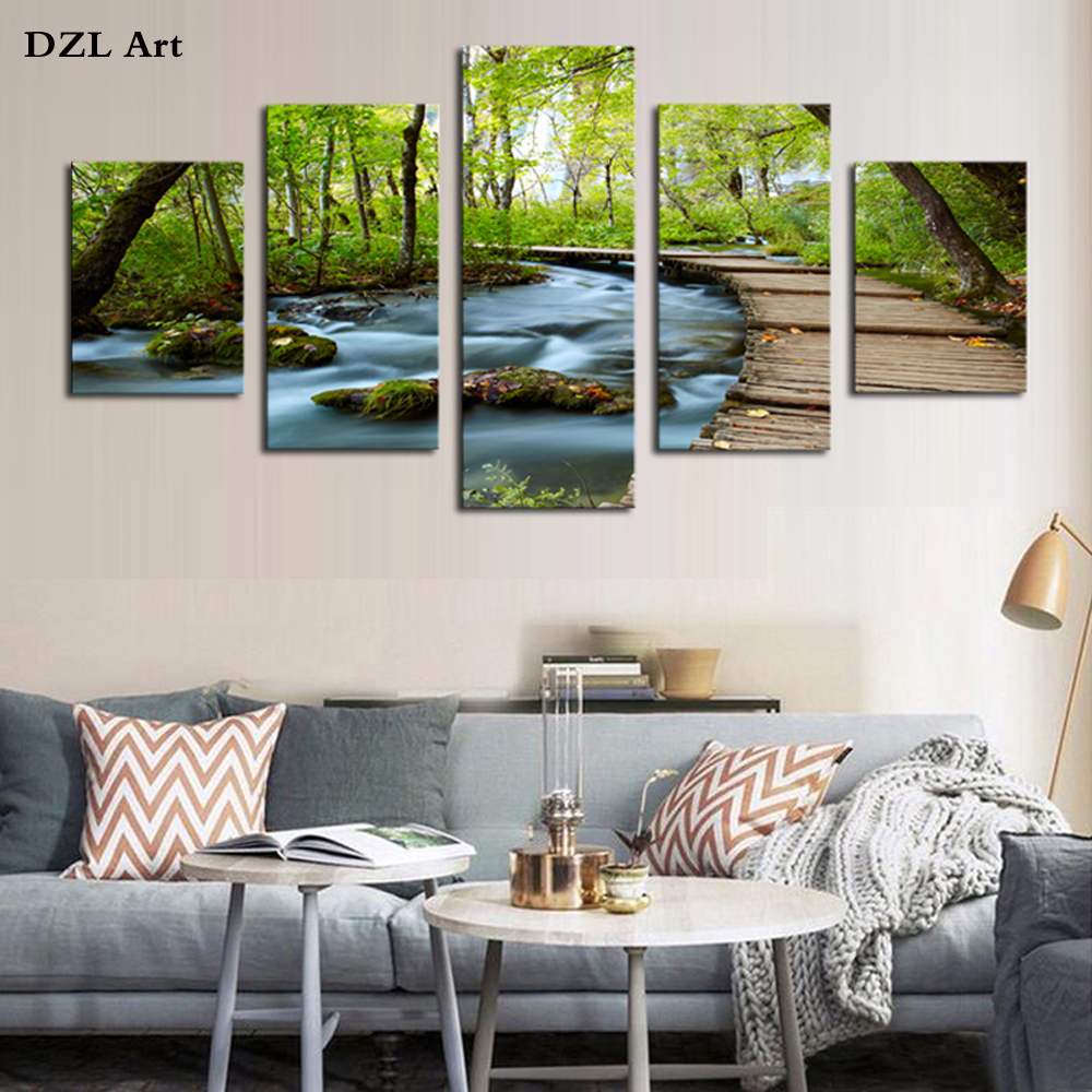 Buy unframed 5 piece woods and waterfalls for Modern home wall art