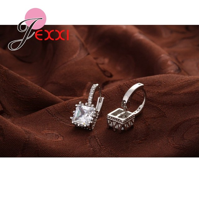 Jemmin Promotion Price Fashion Earrings 925 Sterling Silver Jewelry For Women/Girls Wholesale Earring Shiny Square Cut Wholesale