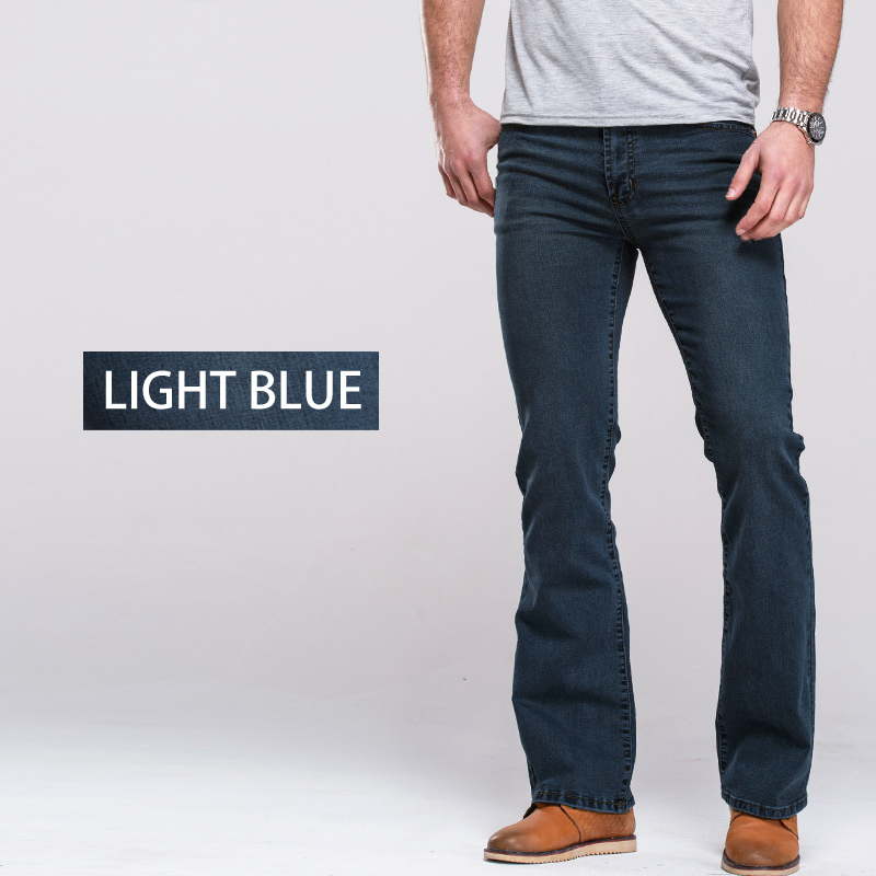 Image 4 - Mens Boot Cut Jeans Slightly Flared Slim Fit Famous Brand Blue Black jeans Designer Classic Male Stretch Denim jeans-in Jeans from Men's Clothing