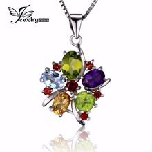 JewelryPalace Flower Multicolor three.1 ct Pure Amethyst Garnet Peridot Citrine Blue Topaz Pendant 925 Sterling Silver No Chain