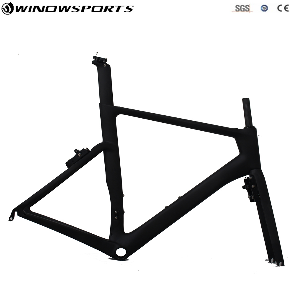 2018 New Aero Carbon Road Bike Frame With Hidden Brake UD Black Or Customized Painting Aero Full Carbon Road Bicycle Frameset