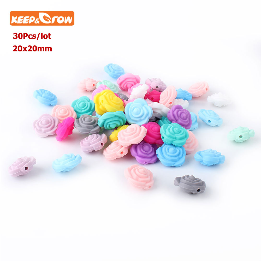 Keep&grow 30Pc Rose Perle Silicone Dentition Beads 20mm Teething Beads Flower Baby Teethers For Teething Necklace Nursing Gitfs