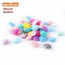 Keep & grow 30pc rosa perle silicone dentição grânulos 20mm dentição contas flor bebê mordedores para dentição colar enfermagem gitfs