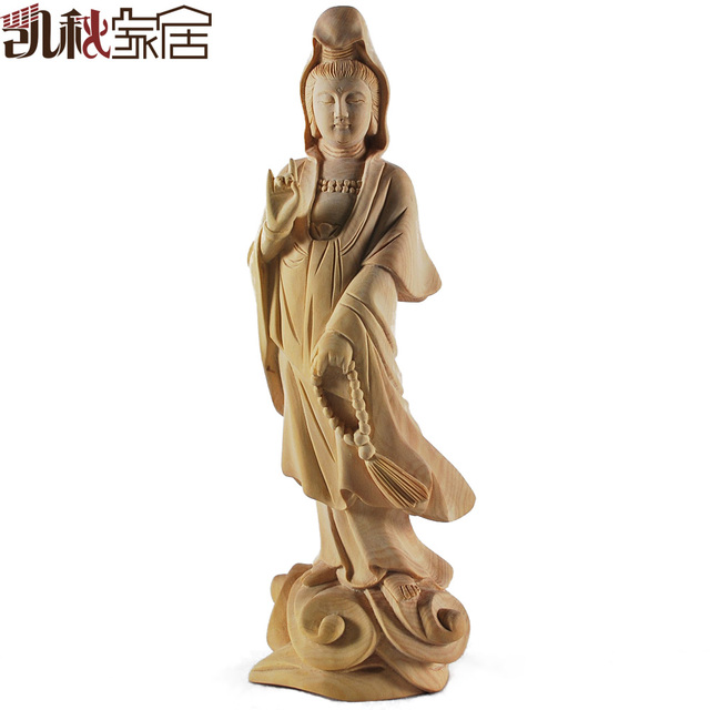 2013 Boxwood wooden Buddha statue woodcarving take beads Guanyin gift collection of home accessories free shipping