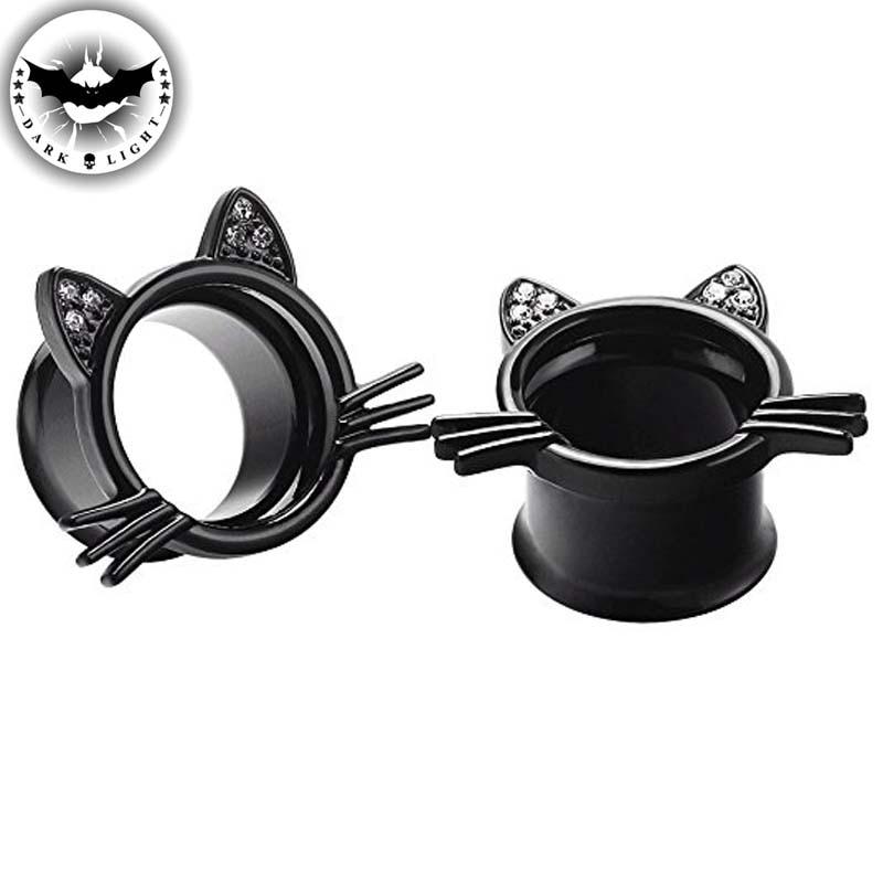 1Pair Surgical Steel Ear Tunnel Plugs Reamer Balck Cat Cute Flesh Ear Extension Piercing  Earrings Body Jewelry Dilation 6-25mm body jewelry