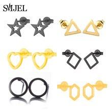 SMJEL – boucles d'oreilles géométriques en acier inoxydable pour homme et femme, bijou en forme de cercle, en forme d'étoile, disponible en noir, vente en gros
