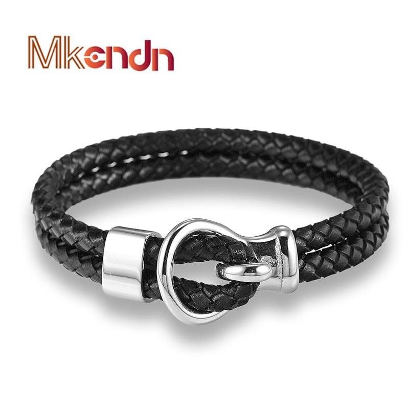 MKENDN FASHION Браслет для чоловіків Чорний Шкіряний мотузковий модний браслет Простий браслет з нержавіючої сталі Гак Браслети Cool Cool