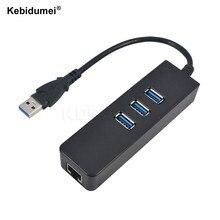 Kebidumei – Hub 3 Ports USB 3.0 vers RJ45 Gigabit Ethernet, adaptateur réseau LAN filaire, 10/100/1000 mb/s, pour Windows et Mac