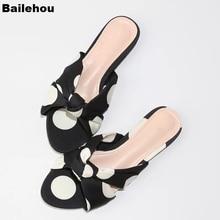 купить Bailehou 19 Summer Slippers For Women Flat Flip Flops Fashion Wave Polka Dot Bow-knot Slides Ladies Slip On Beach Sandal Slipper дешево