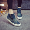 2016 New High-top Canvas Shoes Women Zipper Hole Denim Increased Women's Casual Canvas Shoes Student Shoes