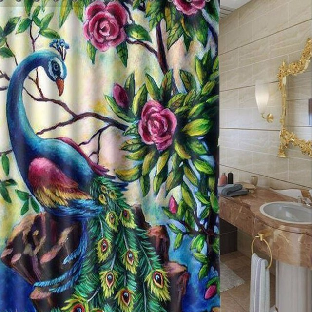 Color Printing Peacock Polyester Waterproof Shower Curtain Flowers Bathroom Decor 150x180cm