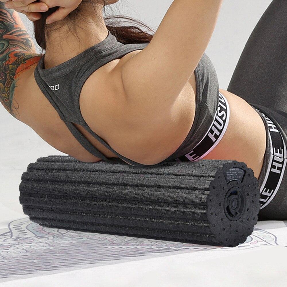 Elétrica 4-Velocidade de Vibração Gatilho Rolo Rolo De Espuma Para Massagem Profunda Do Tecido Muscular Estiramento Ferramenta Slimming Do Corpo de Espuma Yoga rolo