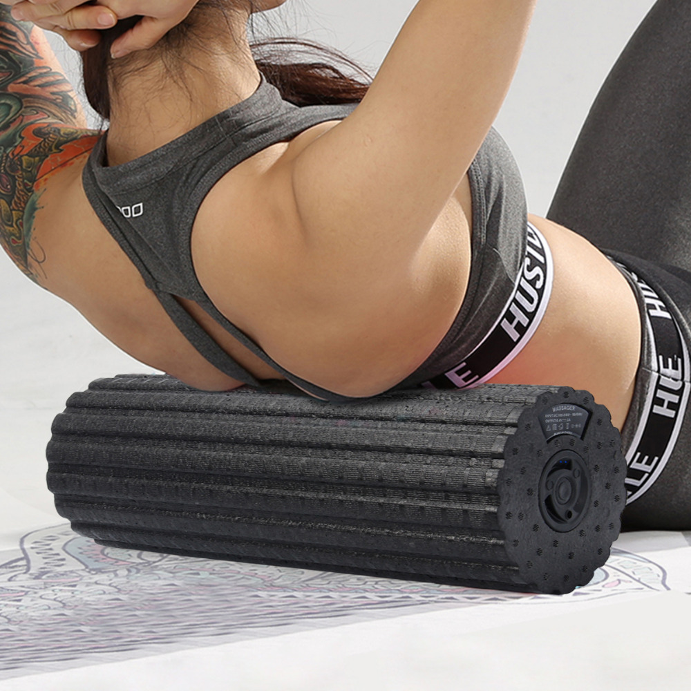 Electric 4-Speed Vibrating Foam Roller For Muscle Massage Deep Tissue Trigger Roll Stretch Tool Body Slimming Yoga Foam Roller