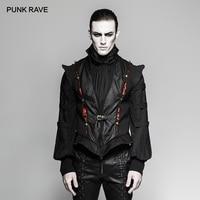 PUNK RAVE Gothic Men's Black Vampire Look Leather Parts Fashion Vests Steampunk Retro Century Palace Luxury Men Vest Jacket Emo