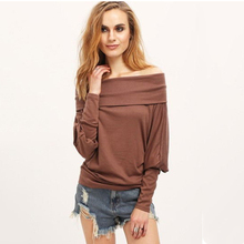 2016 Spring Autumn Casual Loose T-Shirt Long SleeveWomen Off Shoulder Sexy Tops Tumblr Solid Tee Shirt  Plus Size Tshirt