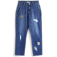 LEIJIJEANS Relaxed Stretch Loose Jeans In Distressed Dark Blue Wash Ankle Lenght Boyfriend Mid Waist Jeans