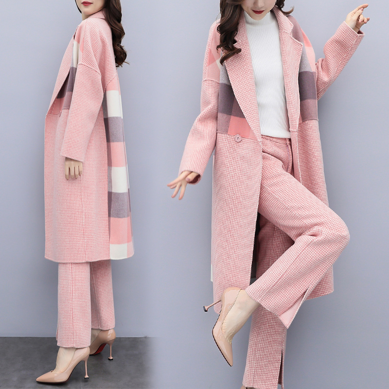 Pièces Pantalon Couture Et Année Plaid Set Chic Deux Feminino Femelle Femme vieux Ensemble rose Top Kaki Survetement Conjunto Costume EH9bYIe2DW