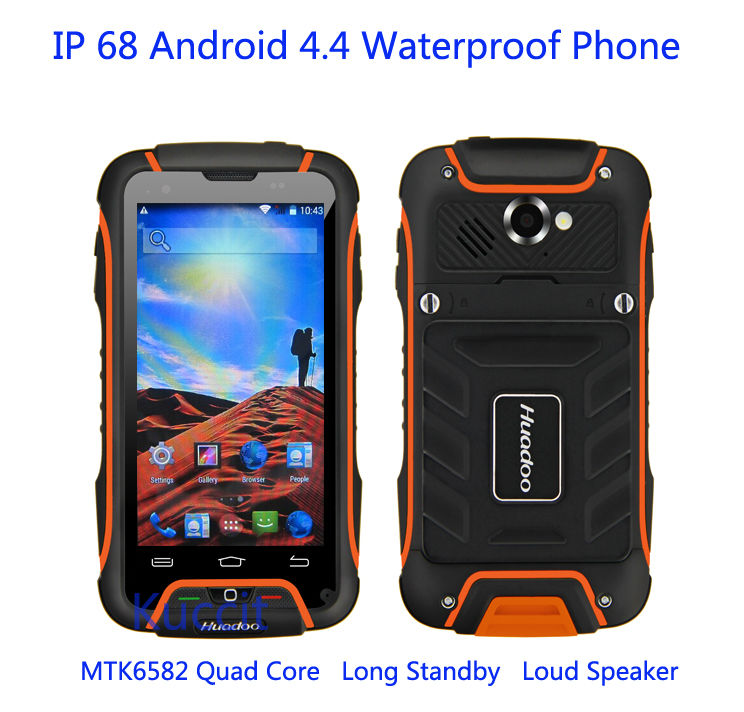 Original Huadoo V3 MTK6582 Quad oreC Mobile Phone Android 4 4 IP68 Waterproof Shockproof 1GB 8GB