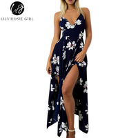 Lily Rosie Girl Navy Blue Floral Print Women Dress Off Shoulder Strap Maxi Long Dress Summer