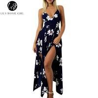 Lily Rosie Girl Off Shoulder Navy Blue Floral Print Dress Women Asymmetrical Strap Summer Beach Maxi Long Sexy Dresses Vestidos