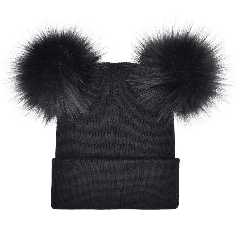 a03aecd16c9f6 ChamsGend 2017 Hot Sale New Fashion Women Winter Warm Crochet Knit Double  Faux Fur Pom Pom Beanie Hat Cap Dropship 171020 A2 -in Berets from Apparel  ...