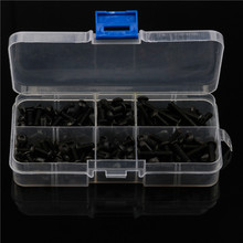 цена на 170PCS 304 Stainless Steel Black Hex Socket 6 Sizes Round Head Hexagon Screws Kit Assortment with Plastic Case