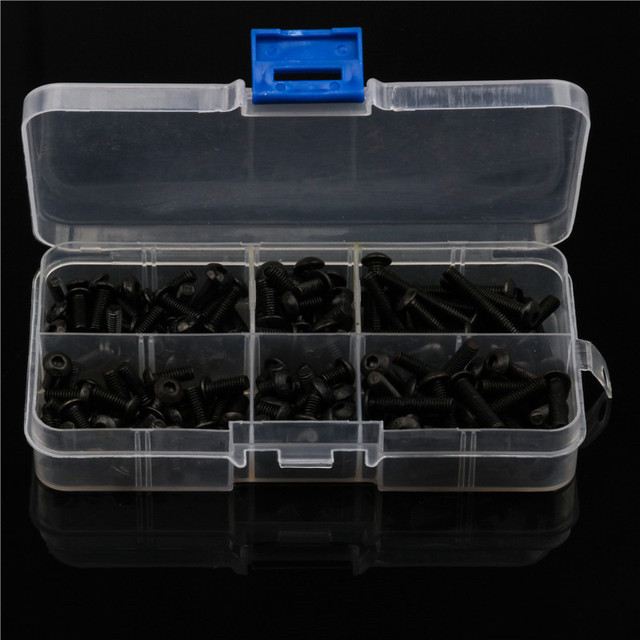 170PCS 304 Stainless Steel Black Hex Socket 6 Sizes Round Head Hexagon Screws Kit Assortment with Plastic Case