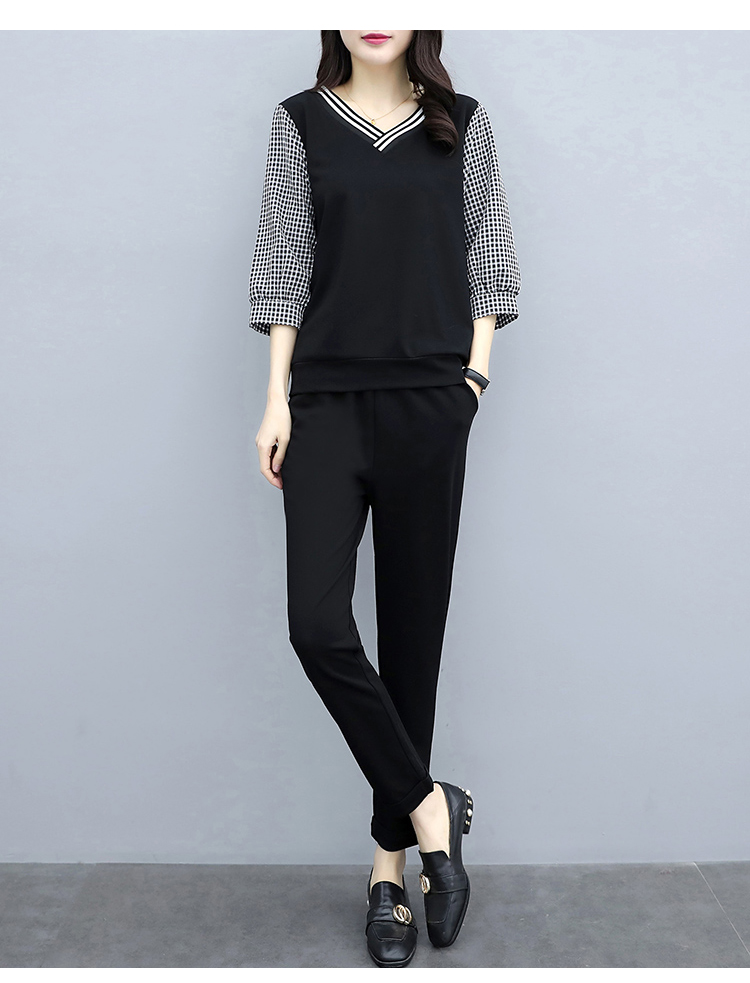Xl-5xl Spring Summer Black Plaid Two Piece Sets Women Plus Size 3/4 Sleeve Tops And Pants Suits Sets Casual Office Women's Sets 24