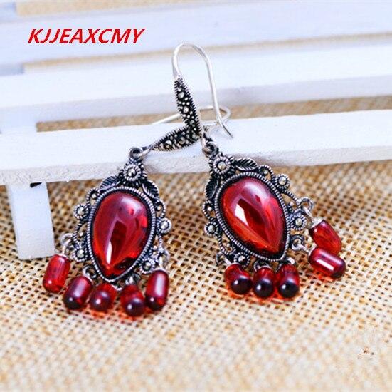 KJJEAXCMY Thai silver s925 silver jewelry retro Thai silver garnet earrings tassel earrings free shipping Factory Outlet цены онлайн