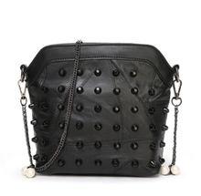 FASHION BLACK METAL CHAINS  REIVET  WOMEN'S BAG CROSS BODY  HANDBAG 22*7*18CM