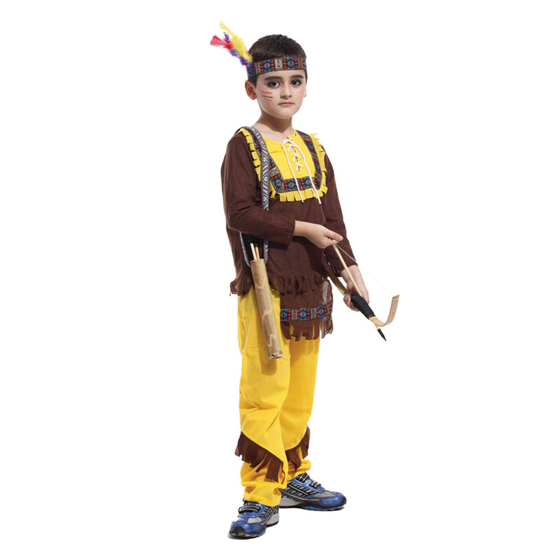 Kids Child Indian Prince Native Hunter Archer Cosplay Costume for Boys Halloween New Year Carnival Mardi Gras Party Outfit 1