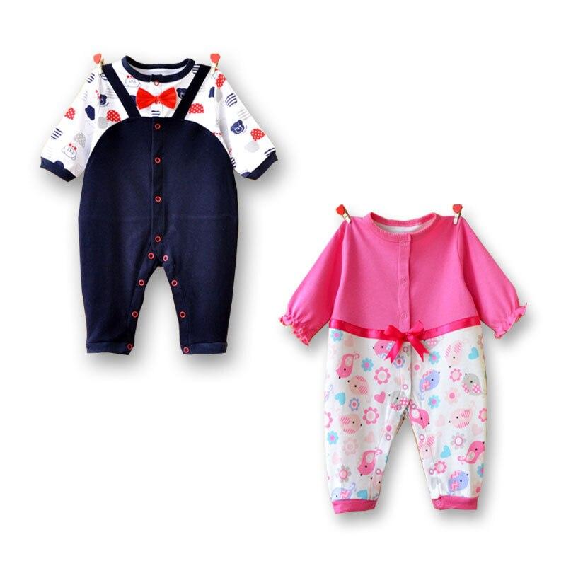 2016 One piece baby pajamas girls dress mustache long sleeve boys romper newborn baby clothes gallus jumpsuit newborn clothes