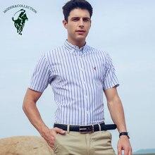 Men's Short Sleeve Shirt 100% Cotton Striped Dress Shirt Regular fit Non Iron Shirt Business Basic Design Formal Dress Shirts