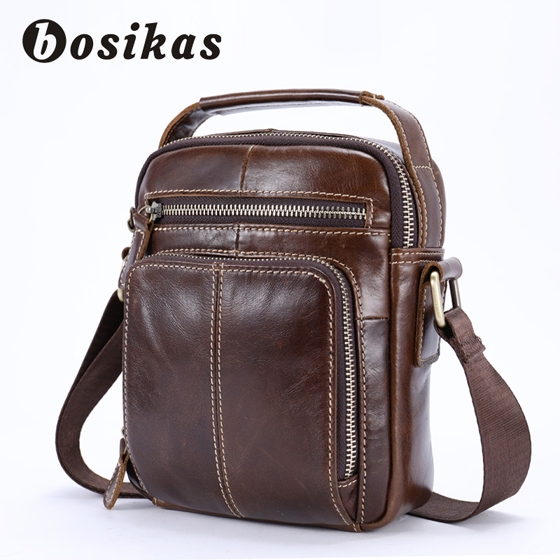 BOSIKAS Men Bag Genuine Leather Handbags Vintage Leather Crossbody Bag Shoulder Men Messenger Bags High Quality Designer Man Bag jason tutu promotions men shoulder bags leisure travel black small bag crossbody messenger bag men leather high quality b206