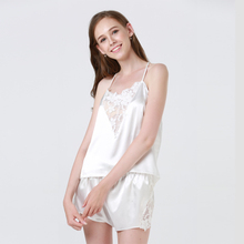 Sexy Pajama Sets Lace Satin Top and Shorts Pajama Set Women Sleeping Wear Summer Sleeveless cheap SNOWINSPRING Pajamas Patchwork Polyester