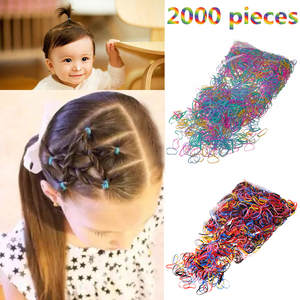 M MISM 2000PCS Disposable Colorful Elastic Hair Band Bezel For Kids Girl Hair Accessories Scrunchy Gum For Hair Rubber Band