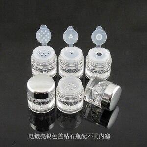 Image 3 - Botes para polvos sueltos 3G con tamiz de malla, recipiente brillante para uñas, color negro, 100 Uds., envío gratis