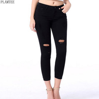 PLAMTEE Solid Color Elastic Jeans For Women 2017 Plus Size S 5xl Sexy Slim Holes Skinny