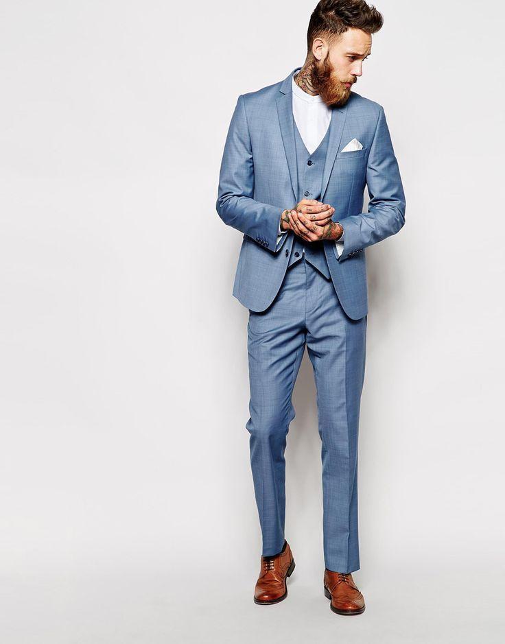 ⑧sky Bule Notch Lapel Men Suits Custome Made Fashion Tuxedos Latest