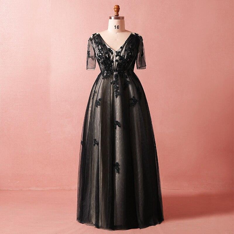 Plus Size Black V neck Beading Lace Up Vestidos De Festa Sequins Short Sleeves Mother Of Bride Dresses Long Robe De Soiree