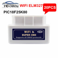 Atacado 20 pçs/lote ELM327 WI-FI Hardware V1.5 PIC18F25K80 4 mHZ WIFI Chip 26 mHz Estável Função ELM 327 Wi-Fi Sem Fio OBD2 SCAN