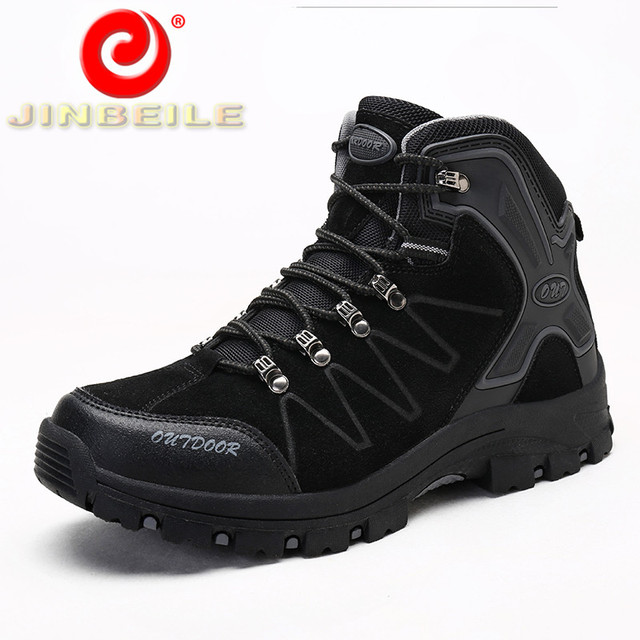 JINBEILE Durable & Non-slip Outsole Hiking Shoes Men Anti-collision Toe Men Sneakers Cool Solid Outdoor Sports Shoes Men 39-47