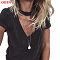 OOTN TX048 V-neck short sleeve shirts women casual black tee cotton tops summer spring top tops t shirt